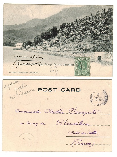 SEYCHELLES - 1907 postcard to France with 3c added (not belonging).