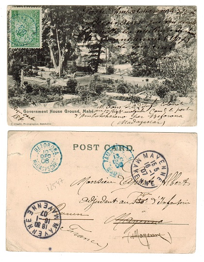 MADAGASCAR - 1906 use of Seychelles postcard to France with 5f tied BEAOROMA/MADAGASCAR.