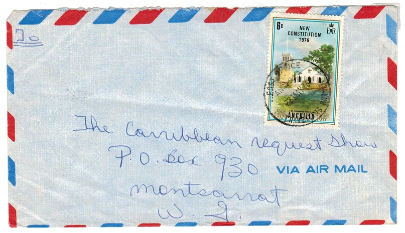 ANGUILLA - 1973 3c cover to USA used with TRAVELLING BRANCH cds.
