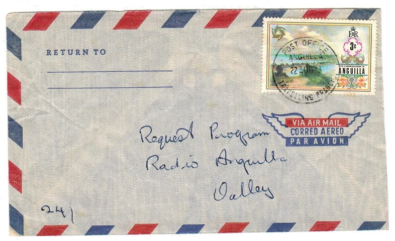 ANGUILLA - 1973 local 3c cover used with TRAVELLING BRANCH cds.