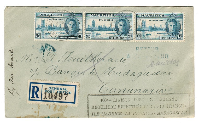 MAURITIUS - 1947 registered first flight cover to Madagascar.