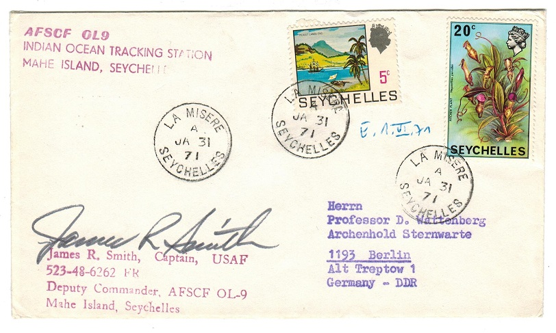 SEYCHELLES - 1971 AFSCF OL9-TRACKING STATION  cover to Germany used at LA MISERE/SEYCHELLES.