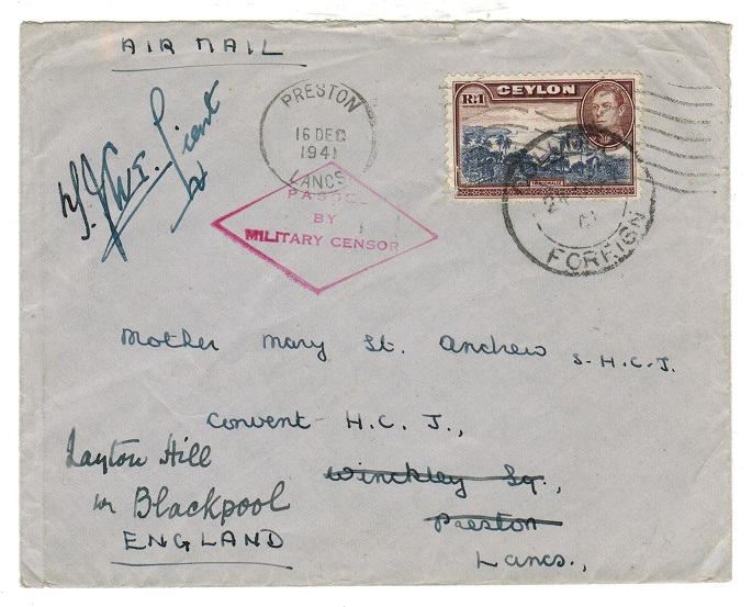 CEYLON - 1941 PASSED BY MILITARY censor cover to UK.