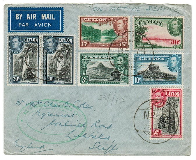 CEYLON - 1942 INDIAN FPO/74 cover to UK with No.5 INDIAN CENSOR UNIT handstamp.