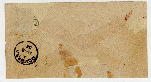 BRITISH EAST AFRICA - 1898 2 1/2a on 1a surcharge adhesive on local cover from MOMBASA.