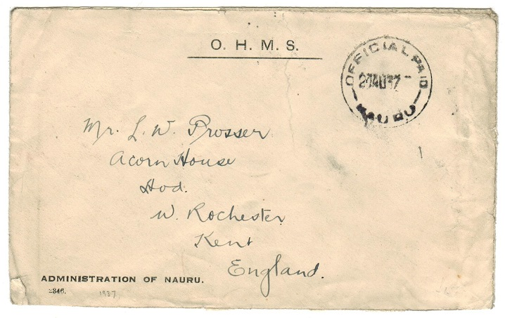 NAURU - 1937 OHMS envelope to UK cancelled OFFICIAL PAID/NAURU.