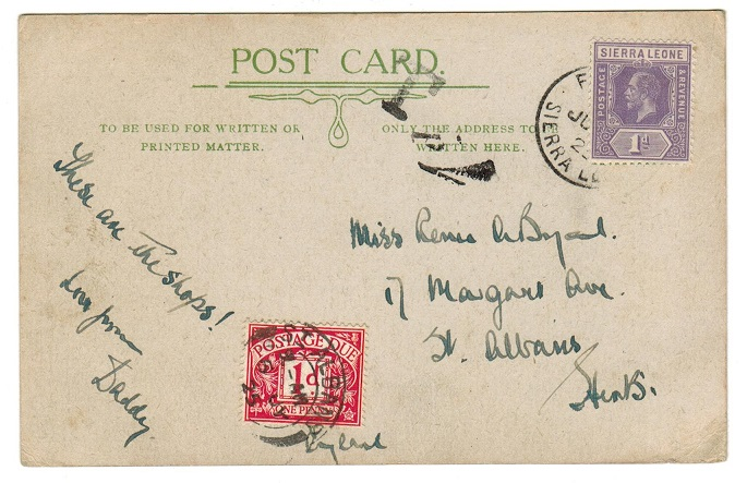 SIERRA LEONE - 1925 use of picture postcard to UK underpaid with scarce