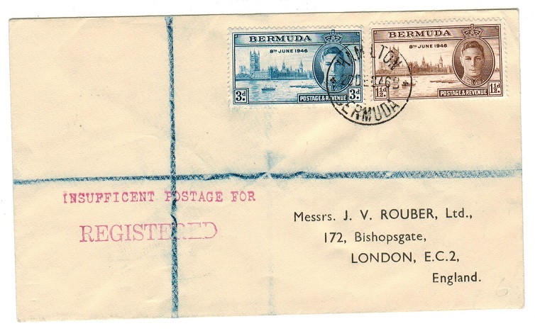 BERMUDA - 1946 INSUFFICENT POSTAGE FOR/REGISTERED mark on