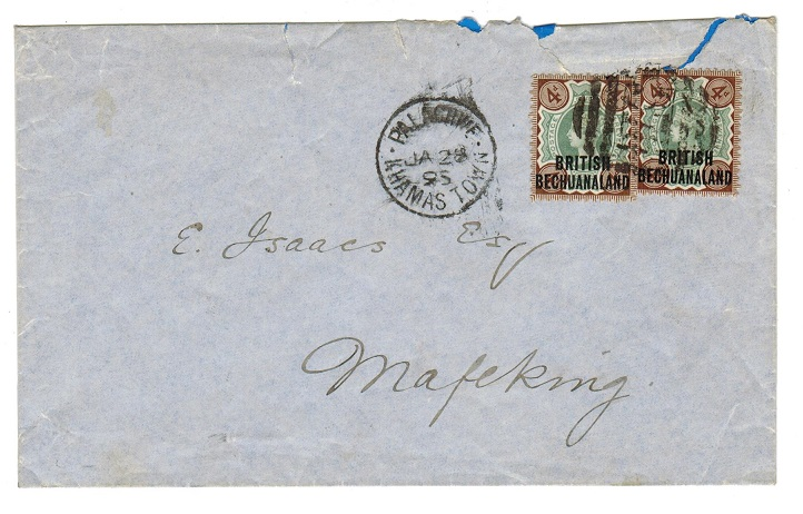 BECHUANALAND - 1895 local cover with QV 4d tied