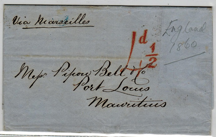 MAURITIUS - 1860 inward entire from UK (stamps removed) with