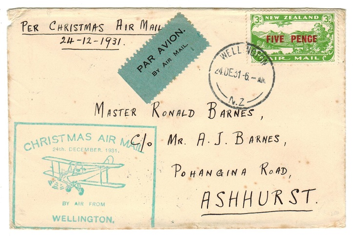 NEW ZEALAND - 1931 local first flight cover.