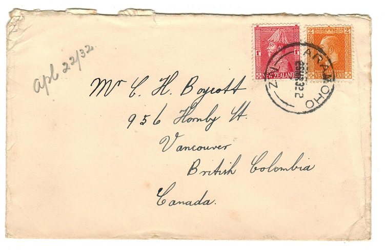 NEW ZEALAND - 1932 cover to Canada used at ARANOHO.