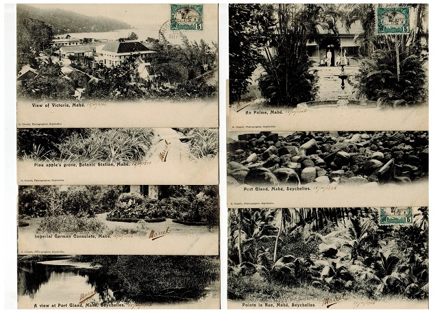 SEYCHELLES - 1906 range of 7 postcard all used in Djibouti.