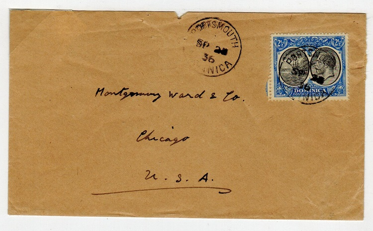 DOMINICA - 1936  2 1/2d rate cover to USA used at PORTSMOUTH.