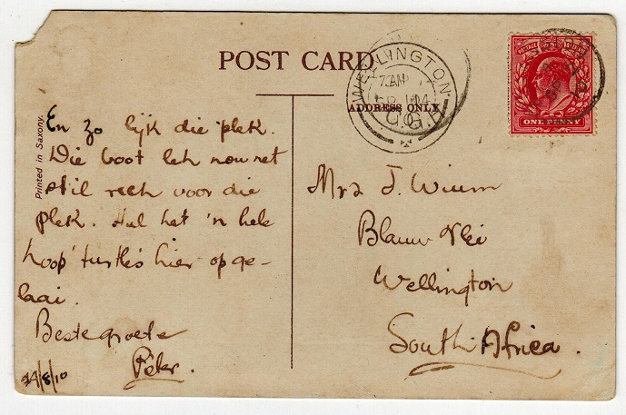 ASCENSION - 1910 postcard to South Africa with GB 1d adhesive cancelled ASCENSION.