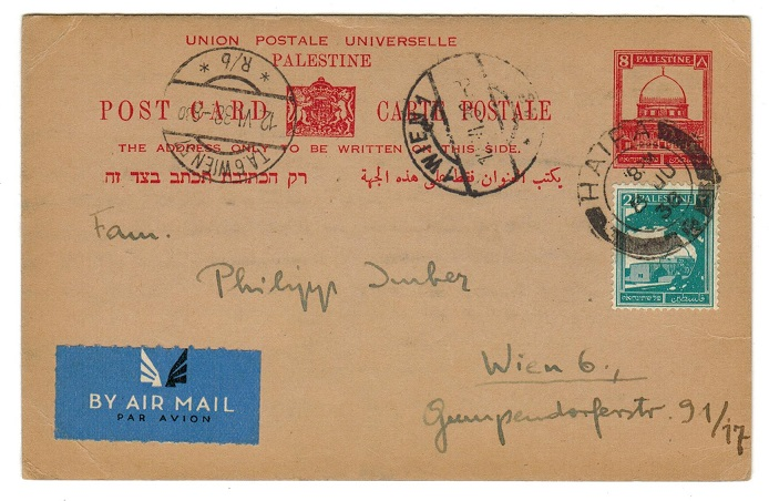 PALESTINE - 1932 8m deep red PSC addressed to Austria uprated with 2m from HAIFA. H&G 6.
