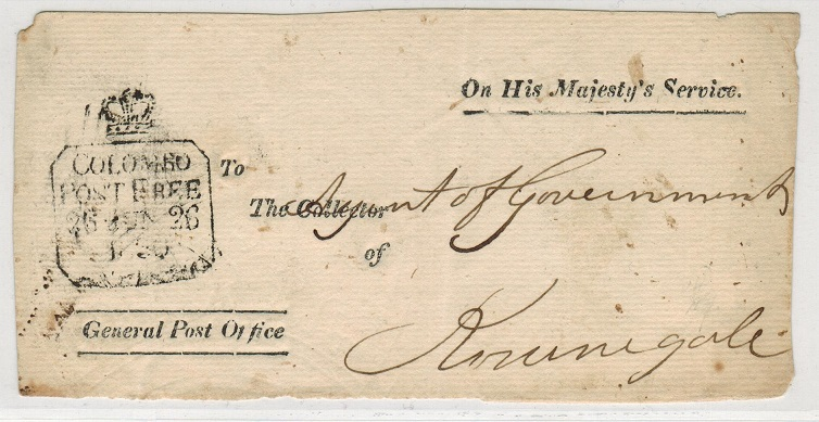 CEYLON - 1830 OHMS (front) with rare COLOMBO/POST FREE handstamp.
