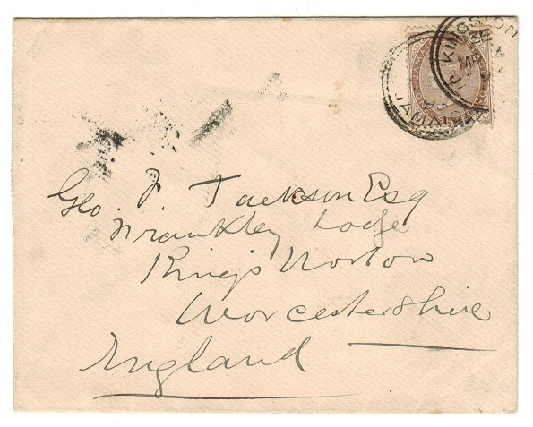 JAMAICA - 1898 1/- rate cover to UK used at KINGSTON.