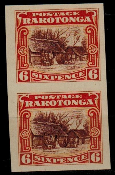 COOK ISLANDS - 1920 6d IMPERFORATE PLATE PROOF pair.