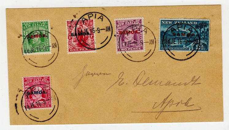 SAMOA - 1916 local philatelic cover with values to 6d used at APIA.