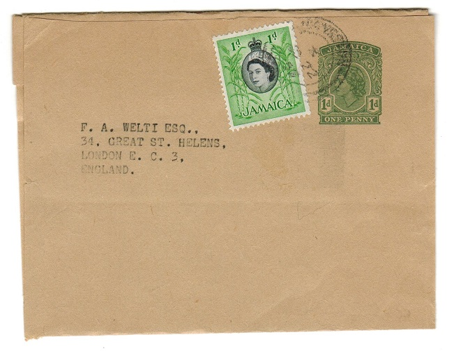 JAMAICA - 1954 1d postal stationery wrapper uprated to UK.  H&G 9.
