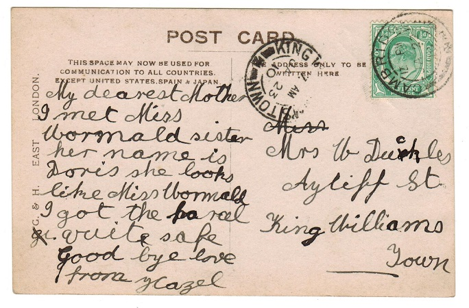 CAPE OF GOOD HOPE - 1910 1/2d rate postcard to King Williams Town used at CAMBRIDGE.