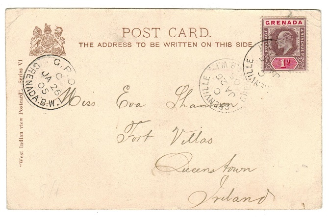 GRENADA - 1906 1d rate postcard to Ireland used at GRENVILLE.