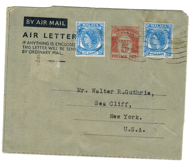 MALAYA - 1955 5c pre-paid air letter to USA with additional 5c (x2) added.  H&G 2a.