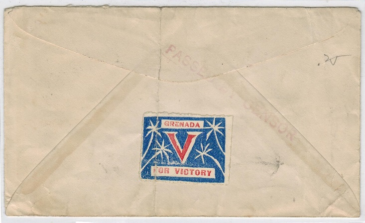 GRENADA - 1941 censor cover to USA with rare patriotic label.
