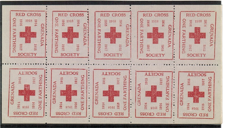 GRENADA - 1918 1/4d RED CROSS sheetlet with tete beche pairs.