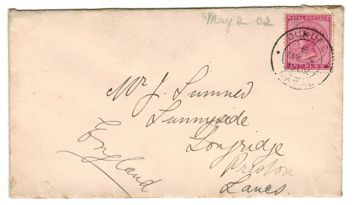 NATAL - 1902 1d rate cover to UK used at DUNDEE.