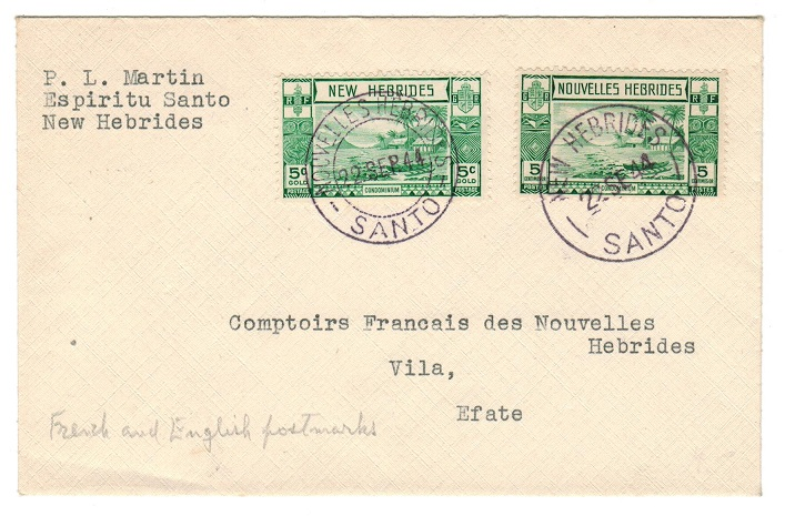 NEW HEBRIDES - 1944 local cover with bilingual cancels.