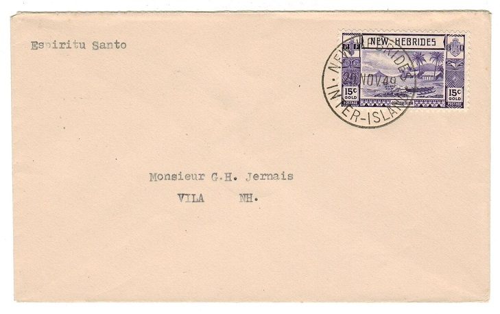 NEW HEBRIDES - 1949 15c rate cover used on the NEW HEBRIDES/INTER-ISLAND service.