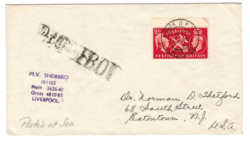 NIGERIA - 1952 maritime cover to USA used aboard the M.V.SHEPERO.