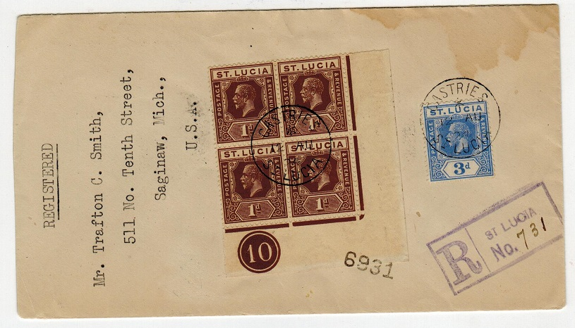 ST.LUCIA - 1924 registered cover to USA with 1d PLATE 10 block of four used at CASTRIES.
