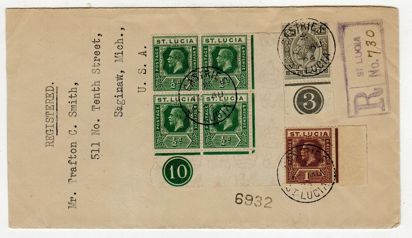 ST.LUCIA - 1924 registered cover with 1/2d PLATE 10 and 2d PLATE 3 adhesives used at CASTRIES.