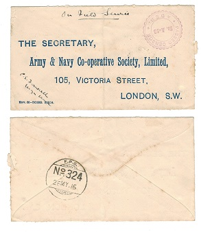 ADEN - 1916 FPO/324 censor cover to UK.
