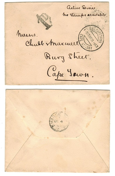 CAPE OF GOOD HOPE - 1900 Boer War cover to Cape Town with scarce CHARGE CLERK cds backstamp.