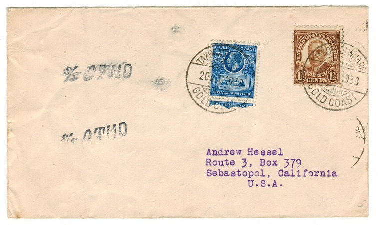 GOLD COAST - 1936 maritime cover to USA used aboard S/SOTHO with TAKORADI/WHARF cds.