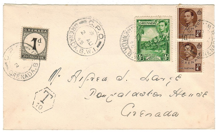GRENADA - 1945 local underpaid cover with 1d postage due added.