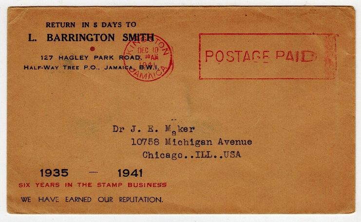 JAMAICA - 1941 POST PAID cover to USA.