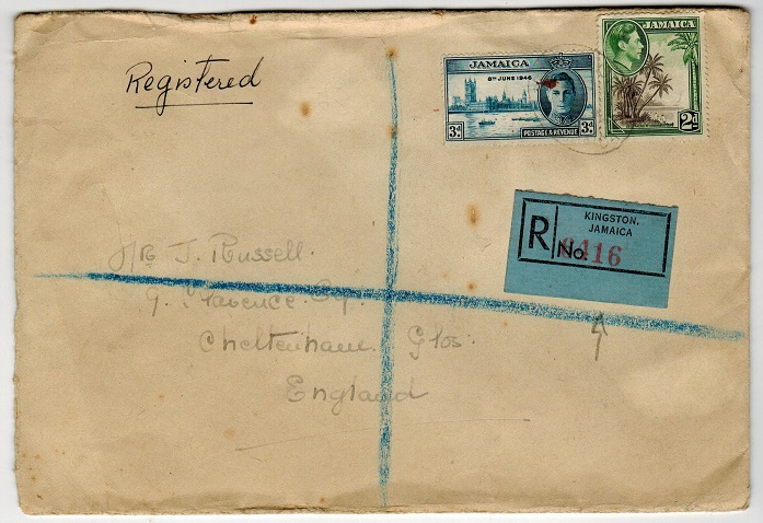 JAMAICA - 1946 (circa) registered cover to UK with blue-grey registered label.