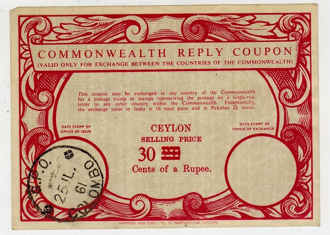 CEYLON - 1961 30c on 20c red COMMONWEALTH REPLY COUPON used at COLOMBO.