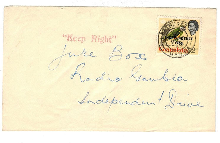 GAMBIA - 1965 local cover with KEEP RIGHT h/s.