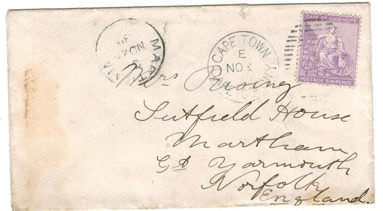 CAPE OF GOOD HOPE - 1880 6d rate cover to UK.