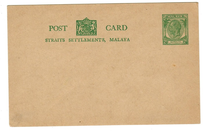 Malaya (Straits Settlements) 1935 2c green PSC unused.  H&G 34.
