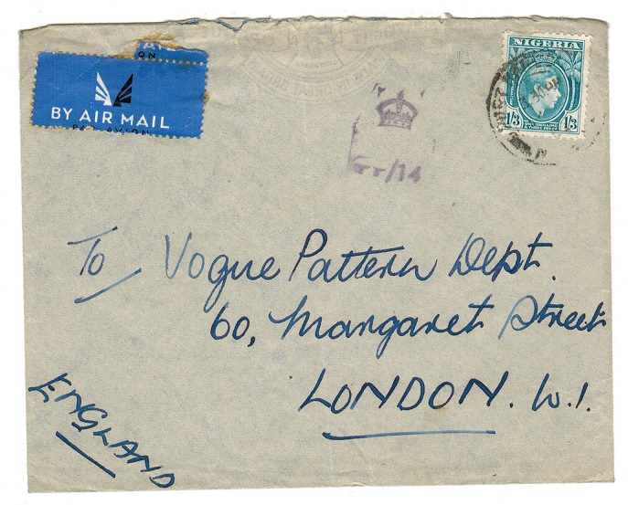 NIGERIA - 1942 censor cover to UK.
