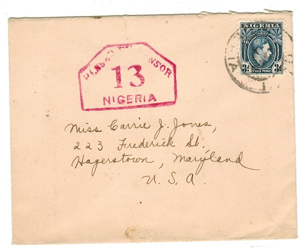 NIGERIA - 1941 censored cover to USA.