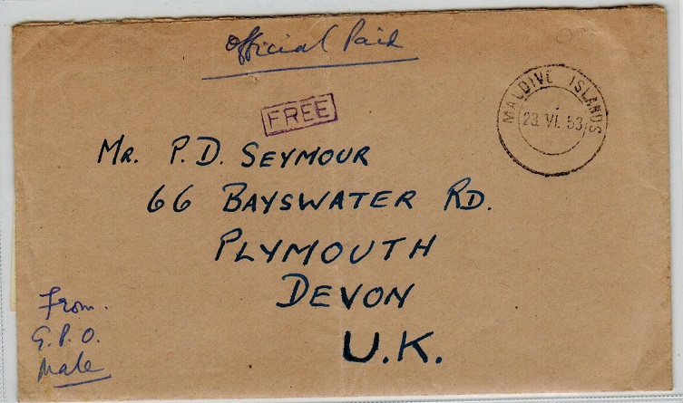 MALDIVE ISLANDS - 1953 official FREE envelope to UK with contents.