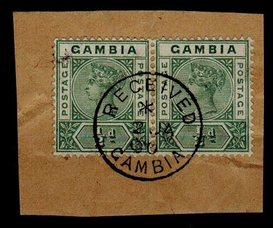 GAMBIA - 1900 1/2d pair tied to piece by complete RECEIVED/GAMBIA cds.  SG 37